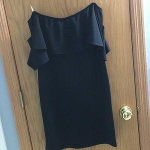 Over the shoulder little black dress